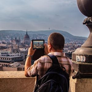 Tourist on Saint Istvan Basilika in Budapest